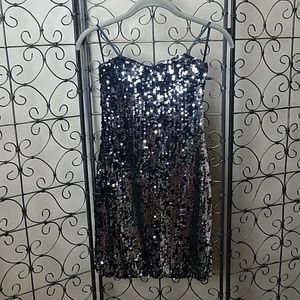 Full Sequin Strapless Party Dress
